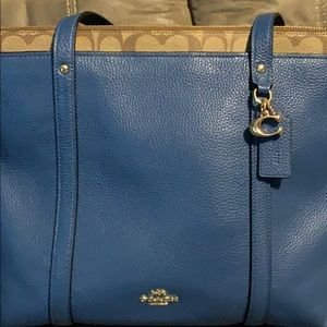 COACH Leather sig pop tote bag